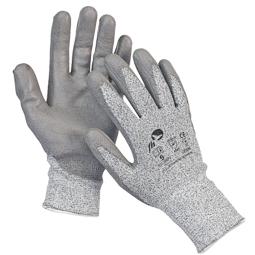 Knitted seamless gloves against cutting through