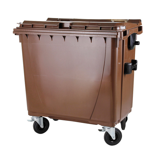 Plastic container 660 l flat lid-brown