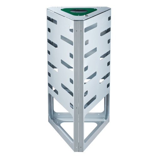 "Waste bin ""triangle"" - green - without roof"
