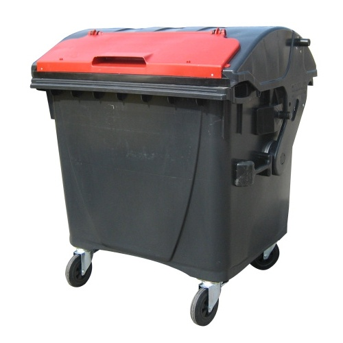 Plastic container 1100 litres - black and red V/V