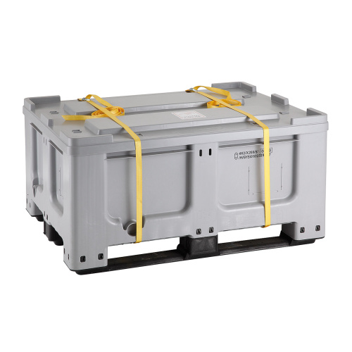 Plastic box with UN code, including the lid and straps 1200 x 1000 x 580mm