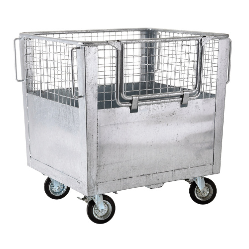 Wire mesh box - tipping front, fixed lid 1400 l.