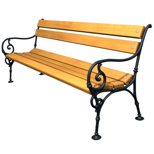 Cast-iron bench with soft wood Wien